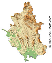 Relief map - Epirus (Greece) - 3D-Rendering