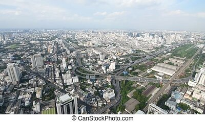 Cityscape, Expressway with traffic on road in Bangkok city...