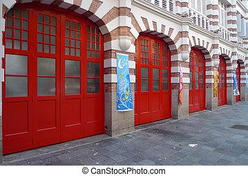 fogo, estação, portas, Cingapura