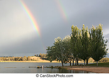 arco íris, sobre, lago, Ginninderra