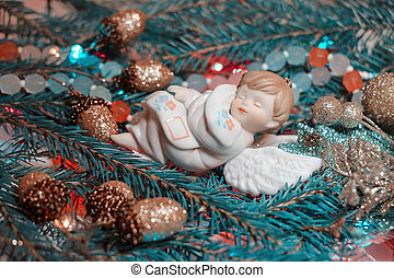 Christmas background with fir branches and Christmas toys....