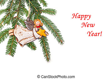 New Year's congratulatory background with fir branches and a...