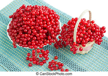 Red berries in plate and basket on blue underlay - Red...