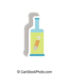 Vector illustration paper sticker Halloween icon bottle with finger