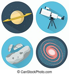 Astronomy Icons Set Planets and Galaxies and Meteors...