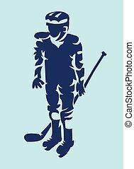 Hockey Player Mascot Silhouette - Hockey Player Dark on...