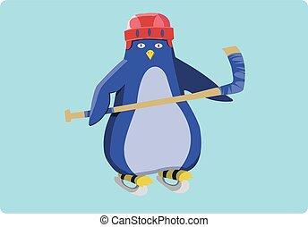 Hockey Penguin Emblem Illustration - Hockey Penguin...