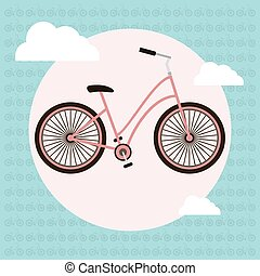 Bicycle vector greeting card - Bicycle colorful vector...