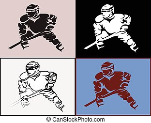Hockey Player in Movement Mascot Silhouettes