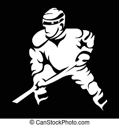 Hockey Player in Movement Mascot Silhouette