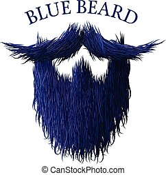 Blue beard classic jealous icon with detailed hair drawing -...