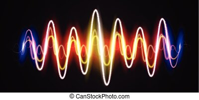 Neon waveform shiny music sign with flares - Neon waveform...