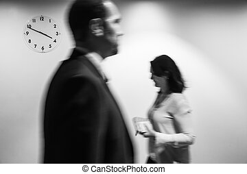 Passage of time concept. Blurred black and white image of...