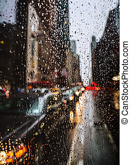 View of New York City on Rainy Evening - Blurred New York...