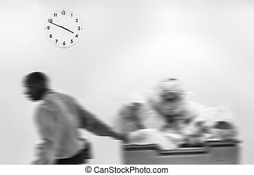 Passage of time concept. Blurred image of black man carries...