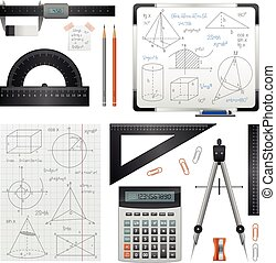 Mathematic Science Images Set - Science images set of...