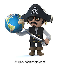 3d Pirate captain holds a globe of the Earth