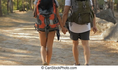 Couple of hikers walks away by the path - Young couple of...