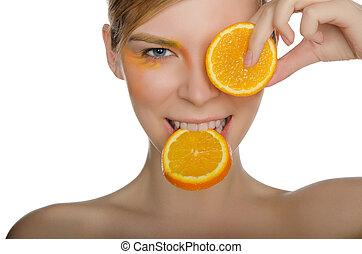 beautiful woman with orange