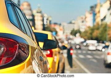 Taxi cars on the street - The taxi cars waiting for...
