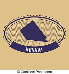 Nevada map silhouette - oval stamp