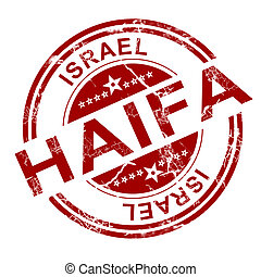 Red Haifa stamp with white background, 3D rendering