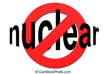 Stop nuclear sign in red with white background, 3D rendering