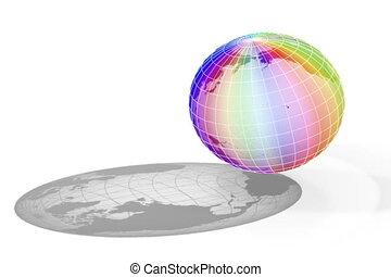 colorful world rotate loop - colorful world rotate on white...