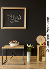 Eco style home idea - Room with black wall and ecological...