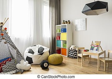 Child room in a new style idea - Spacious child room with...