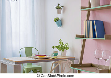 Functional interior for two - Light interior in pink and...