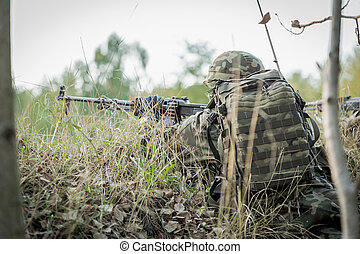 Army is his calling - Uniformed sharpshooter on a training...