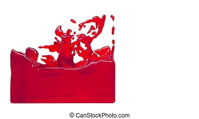 turbulent red liquid filling a container syrup - turbulent...