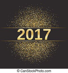 Gold glitter Happy New Year 2017 background. Glittering...