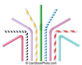 Drinking Straws Realistic Illustration - Drinking plastic...
