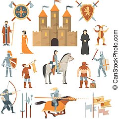 Medieval Decorative Icons Set - Medieval isolated decorative...