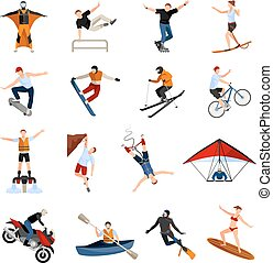 Extreme Sports People Flat Icons - Flat design icons set...