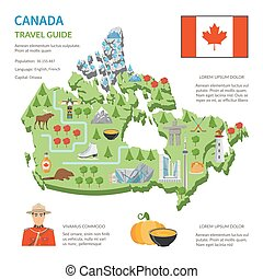 Canada Travel Guide Flat Map Poster - Canada travel guide...