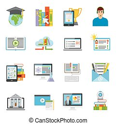 Online Education Flat Icons Set - Online education...
