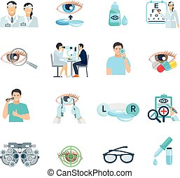 Oculist Ophthalmologist Flat Icons Set - Ophthalmologist...