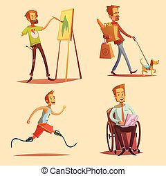 Disabled People Retro Cartoon 2x2 Icons Set - Disabled...