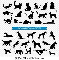 Dogs And Cats Black Silhouette Set
