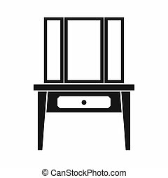 Dressing console, pier-glass icon, simple style - Dressing...