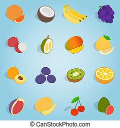 Fruit set icons, isometric 3d style - Isometric fruit set...
