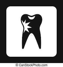 Human tooth with caries icon, simple style
