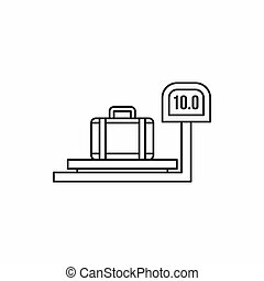 luggage weighing icon in outline style