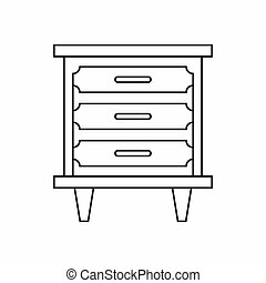 Nightstand icon in outline style - icon in outline style on...
