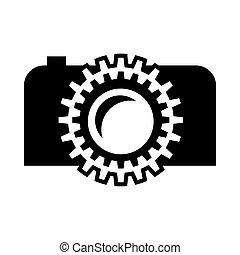 Black camera icon, simple style - icon in simple style on a...