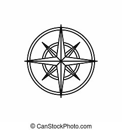 Compass wind rose icon, outline style - Compass wind rose in...