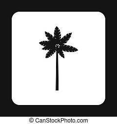 Tropical palm tree icon, simple style